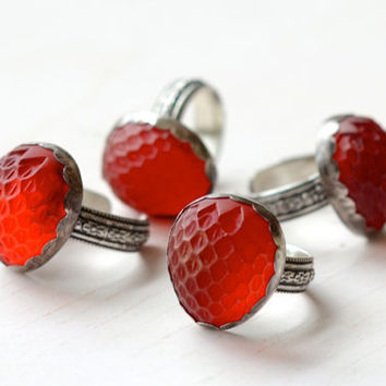 $74.00 Vintage Glass Strawberry Ring Sterling Silver by LaraLewis