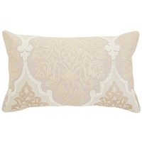 Natural Embroidered Damask Pillow