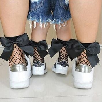 Mommy and Me Mesh Bow Socks