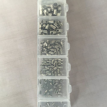 1 Box Silver Cord Ends Tubes- about 180 pieces, Assorted Sizes - Silver colored, Platinum Plated Brass, Nickel Free, Mixed