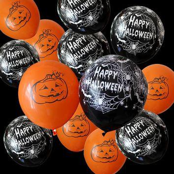 10pcs 12 Inch Latex Balloons Spider Web Pumpkin Horror Halloween Decoration  Helium Air Ball Kids Toy Birthday Party Decor Hot