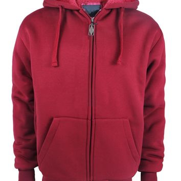 Boys Full Zip up Fleece Hoodie Sweatshirt - Wine - CASE OF 12