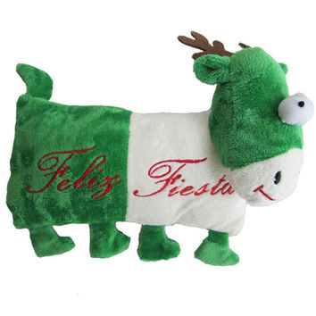 Iconic Pet Reindeer (Green) Holiday Christmas Stuffed Plush Pet (Dog) Pillow Toy - Small