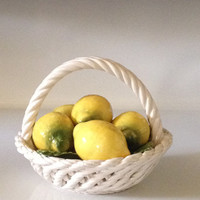 Mid Century Modern Capodimonte Lemons Basket Porcelain Fruit Collectible Summer Kitchen Decor 1950s