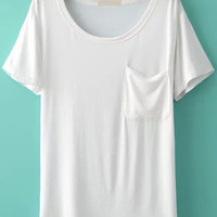 White Short Sleeve T-shirt with Pocket