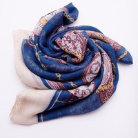 Time Travel Scarf - Navy Print