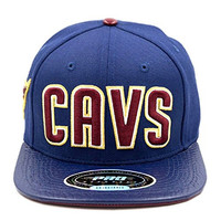NBA Cleveland Cavaliers Navy Blue Cavs Text Premium Leather Strapback / Snapback Hat