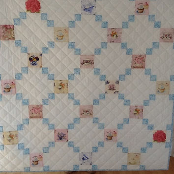 Tea Cups & Cupcakes, Hand Quilted, Handmade Large Lap Quilt 57 x 58 inches Free Shipping Canada , US