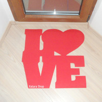 Valentines floor mat. LOVE doormat. Cool rug for your home.