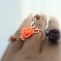 2 Copper adjustable flower power Rings/ Semi Precious Stone Ring Above the knuckle/ midi Formal, Prom,Quinceanera