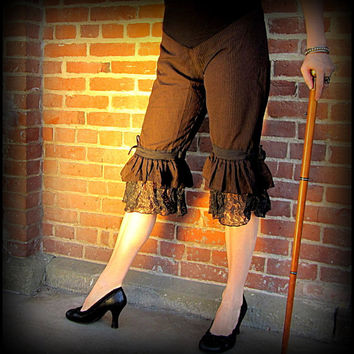 Steampunk Pirate Pants ~ Brown Stripes Black Lace Ruffle Capri Bloomers ~ Burning Man Victorian Gothic Cosplay ~ Belly Dance Fusion