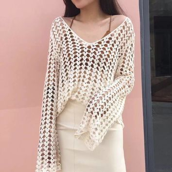 STYLEDOME sweater women spring autumn winter 2018 feminina thin pullover fashion sexy hollow out knit sweaters female Y1492