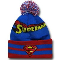 Superman Logo Wide Point Knit Beanie
