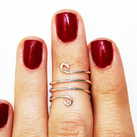 Wire Above the Knuckle Ring, Dainty Wire Jewelry, Simple Everyday Jewelry, Anti-Tarnish Silver