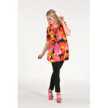 Yoek Shirt Flare Fit Frilled Neck TROPICAL