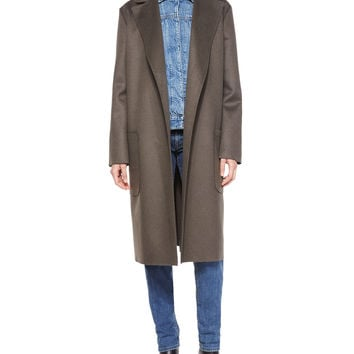 Double-Face Wool/Cashmere Coat, Bark, Size:
