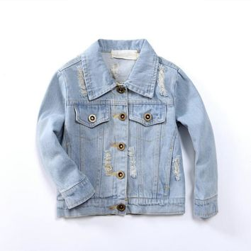 Trendy Kids Clothes Denim Jackets for Baby Girls 2 3 4 5 6 7 8 Years Embroidered Girl Coat  Spring Summer Fashion 2-8Y Children Jacket AT_94_13