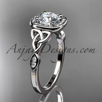 "14kt white gold diamond celtic trinity knot wedding ring, engagement ring with a ""Forever One"" Moissanite center stone CT7179"