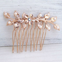 Rose Gold Hair Comb ,Branch Hair Jewelry, Bridal Hair Accessories, Vintage Comb Pearl Crystal Hair Piece
