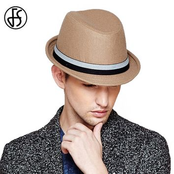 FS Wide Brim Wool Felt Hat Fedora For Men Winter Vintage Khaki Brown Trilby Hats Gorra Sombrero Hombre