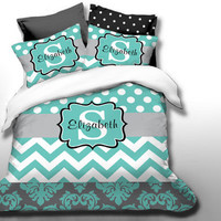 Custom Chevron Monogrammed Duvet Bedding Set-Personalized Monogram-Twin, Full,Queen, King