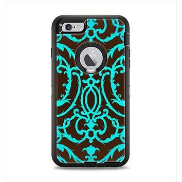 The Blue and Brown Elegant Lace Pattern Apple iPhone 6 Plus Otterbox Defender Case Skin Set