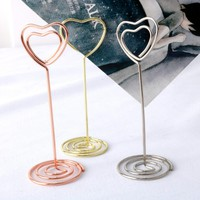 10pcs/lot New Gold/Rose Gold Heart Design Metal Notes Clip Creative Message Photo Clip Stand Memo Clip Note Holder Card Holder