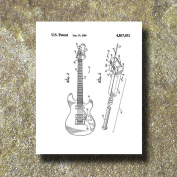 Guitar Patent Art Illustration Printable Instant Download Print Poster UP001w
