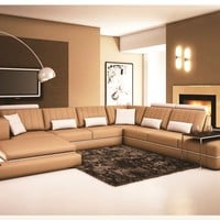 Luxury Modern Leather 5 Piece Sectional Sofa in Tan Color