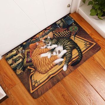 Autumn Fall welcome door mat doormat Smiry Entrance s Anti-Slip Lovely Vintage Cartoon Cat Rug Kitchen Mat Decoration Stair Carpets Light Thin Crafts Rugs AT_76_7