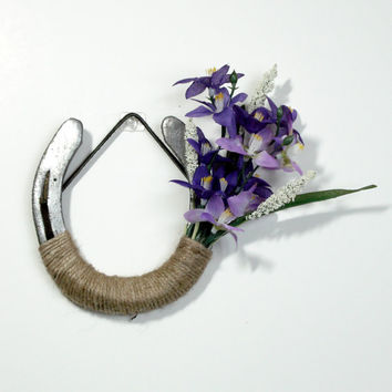 Decorated horseshoe with purple orchids, Spring Flower decor , Western Decor Rustic theme, Farm Decor, Rustic home decor