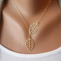 Skeleton Leaf, Christmas, Leaf Pendant, Filigree Leaf Jewelry,Golden Leaf Necklace,Golden Lariat Necklace, Woodland Jewelry, leaf charm  N-3