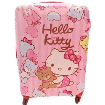 Cute Cartoon Hello Kitty Travel Luggage Cover Protector Kawaii Pink Elastic Fabric Baggage Trolley Suitcase Protective Covers