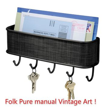 Best Seller Folk Pure Manual Vintage Design Graceful Elegant Bronze Mail & Letter Holder Key Rack Organizer
