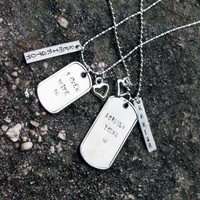 """His & Hers """"4Ever Mine"""" and """"Forever Yours"""" - ID Tag Necklaces"""