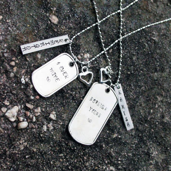 "His & Hers ""4Ever Mine"" and ""Forever Yours"" - ID Tag Necklaces"