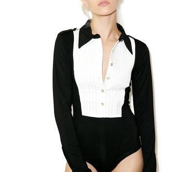 One Teaspoon Tuxedo Bodysuit Black/White