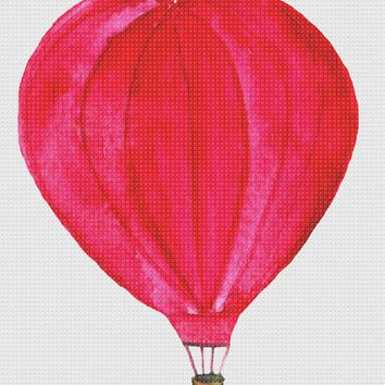 Contemporary Red Hot Air Balloon Hand Embroidery Pattern