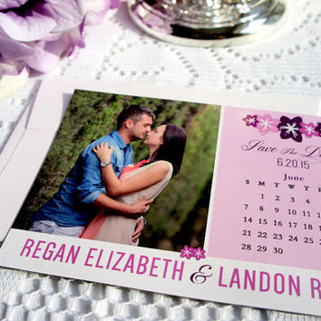 Purple Floral Save the Date Magnet – Photo Magnet, Wedding, Photo Save the Date, Calendar Magnet, Save the Dates - DEPOSIT