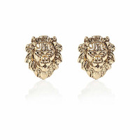Gold tone lion head stud earrings - earrings - jewelry - women