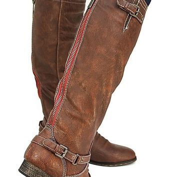 New Womens BO81 Red Zipper Tan Buckle Riding Knee High Boots USA Sz 5.5 to 11