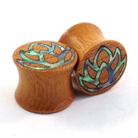 "Abalone Lotus Inlay Osage Orange Plugs 10 mm 7/16"" (11mm) 1/2"" (13mm) 9/16"" (14mm) 16 mm 17.5mm 19mm 20.5mm 22mm 25.5mm 28mm 30mm 32mm"