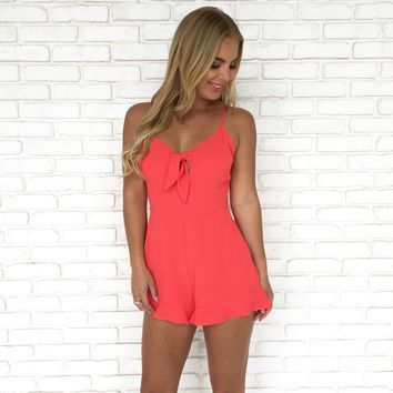 Steal A Kiss Romper in Red