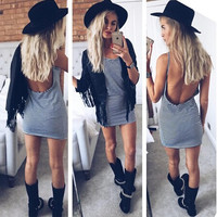 Hot Sale Stripes Spaghetti Strap Stylish Dress Slim Vest One Piece Dress [9266835788]