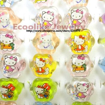 50Pcs Acrylic Lovely Animation Cartoon Hello Kitty Child Resin Plastic Rings Boys Girls Jewelry Bulk Lots LR446 Free Shipping