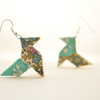 Boucles d'oreilles origami liberty turquoise