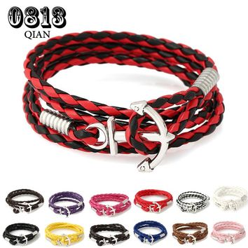 PU Leather Men Bracelet Jewelry Man Women Anchor Bracelet Wristband Charm Braclet For Male Accessories Hand Cuff HD3C
