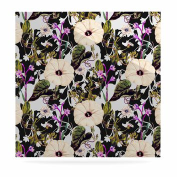 "mmartabc ""Abstract Blooming Botanic"" Purple Multicolor Floral Nature Illustration Watercolor Luxe Square Panel"