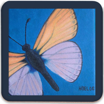 Marine Blue Butterfly - Coasters (Set of 4) of Acrylic Paint Fine Art