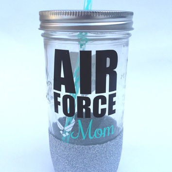 Air Force Mom // Glitter Dipped Mason Jar Tumbler